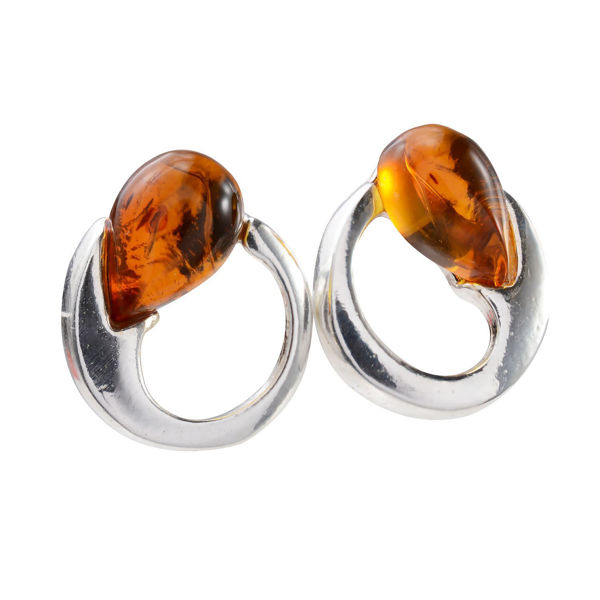 "Sterling Silver and Baltic Honey Amber Stud Earrings ""Nelia"""