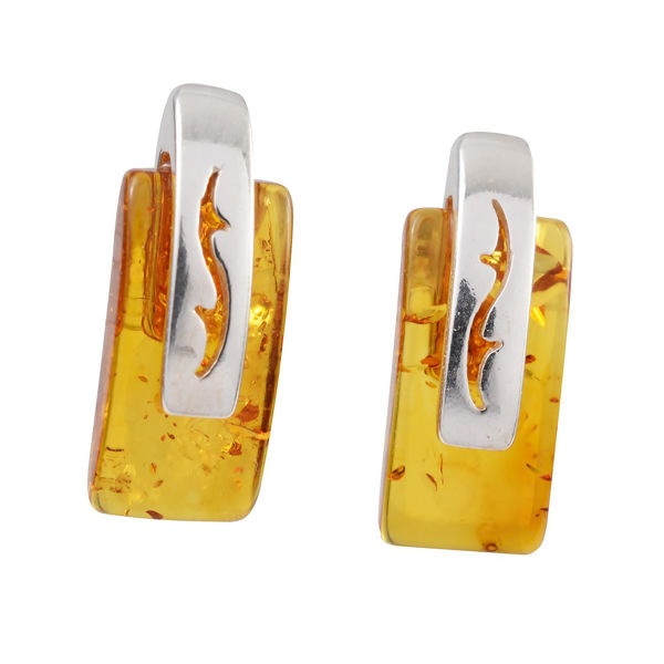 """Sterling Silver and Baltic Honey Amber Stud Earrings """"Thalia"""""""