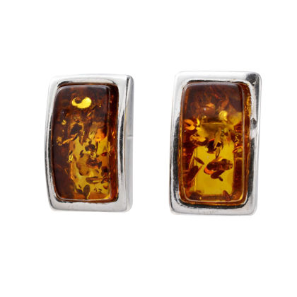 "Sterling Silver Baltic Honey Amber Earrings ""Alina"""