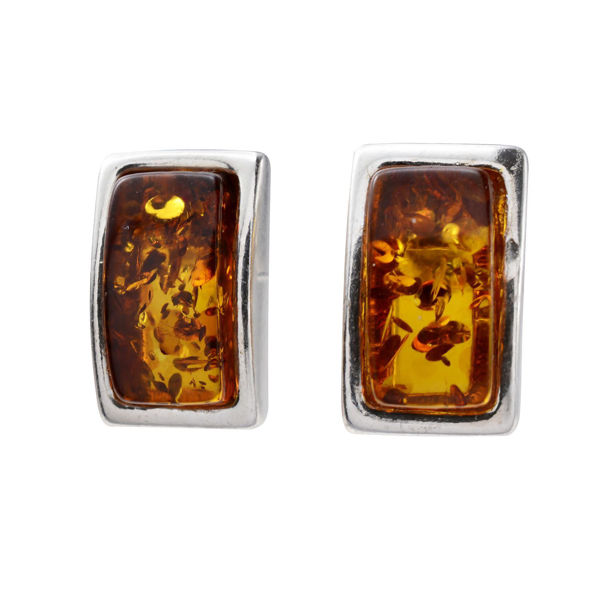 "Sterling Silver Baltic Honey Amber Earrings ""Alina"""