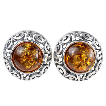 """Sterling Silver and Round Baltic Honey Amber Stud Earrings """"Ida"""""""