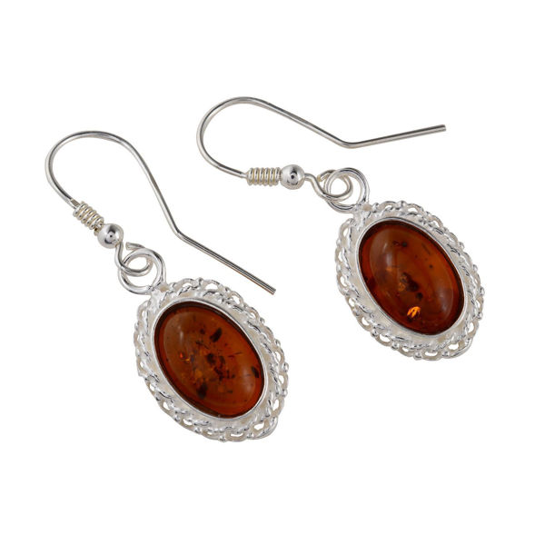 "Sterling Silver and Baltic Honey  Amber Earrings ""Cecilie"""