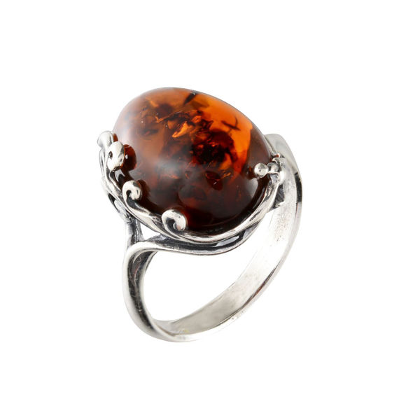 "Sterling Silver and Baltic Cherry Amber Ring ""Dana"""