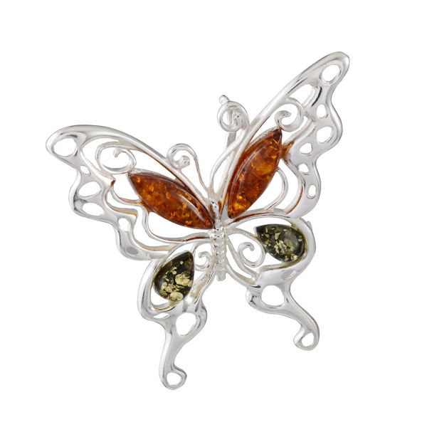 """Sterling Silver and Baltic Multicolored Amber Pendant """"Butterfly"""""""