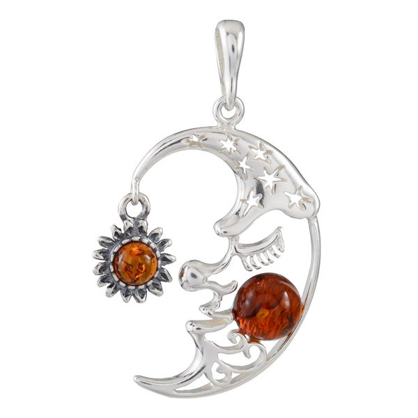 "Sterling Silver and Baltic Honey Amber Pendant ""Crescent Moon"""