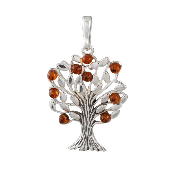 Sterling Silver and Baltic  Honey Amber Family Tree Pendant