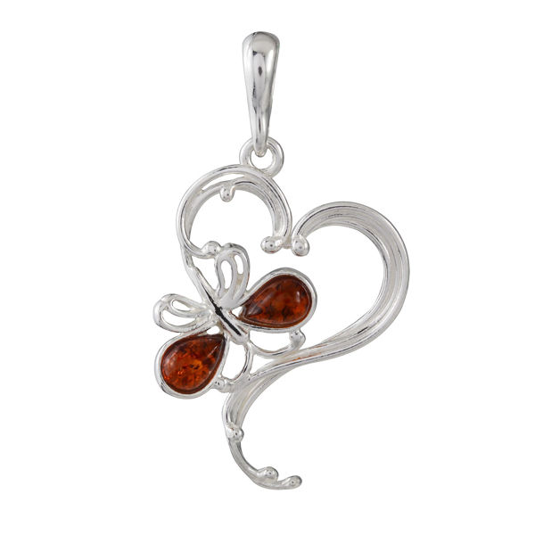 Sterling Silver and Baltic Honey Amber Butterfly Heart Pendant
