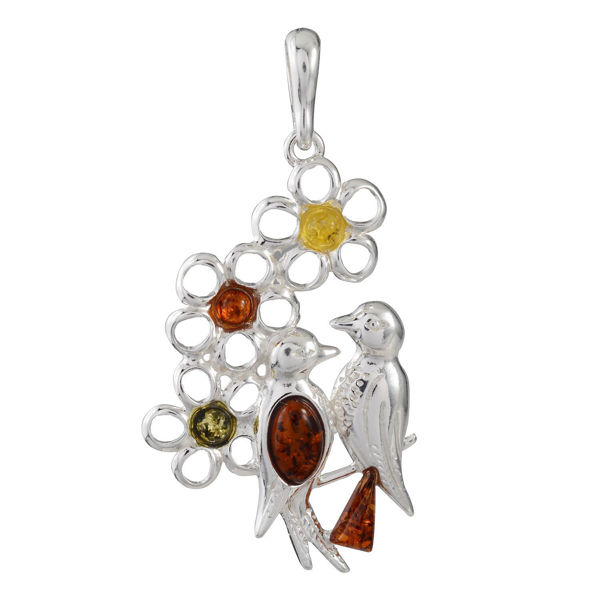 Sterling Silver and Baltic Amber Two Birds Spirit Pendant