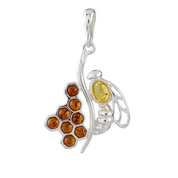"Sterling Silver and Baltic Honey Amber Pendant ""Honeycomb Bee"""