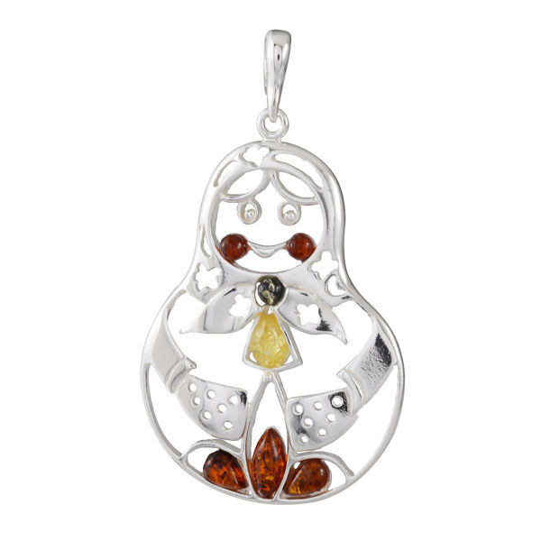 "Sterling Silver and Baltic Multicolored Amber Russian Doll  Pendant ""Matryoshka"""
