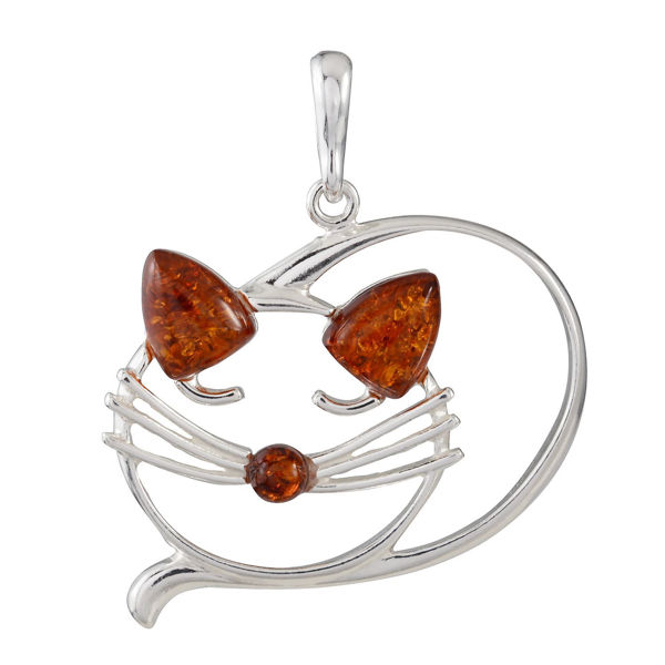 "Sterling Silver and Baltic Honey Amber ""Curled Cat"" Pendant"