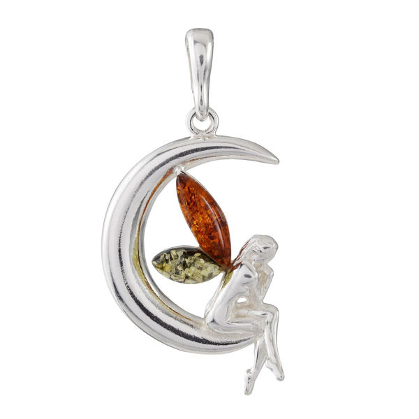 Sterling Silver and Baltic Honey Amber Fairy On The Crescent Moon Pendant