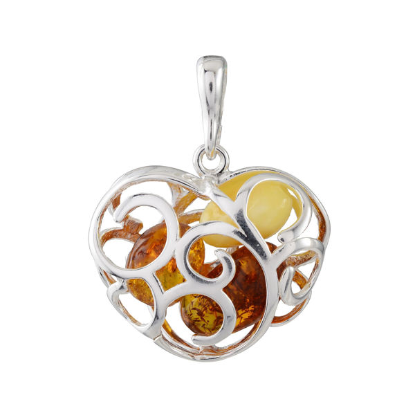 Sterling Silver and Baltic Amber Faithful Heart Pendant