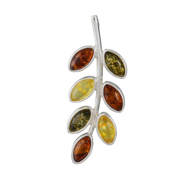 Sterling Silver and Baltic Multicolored Amber Twig Pendant