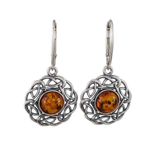 "Sterling Silver and Baltic Amber French Leverback  Earrings ""Enat"""