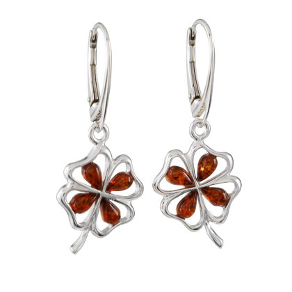 "Sterling Silver and Baltic Amber French Leverback Honey Amber Earrings ""Shamrock"""