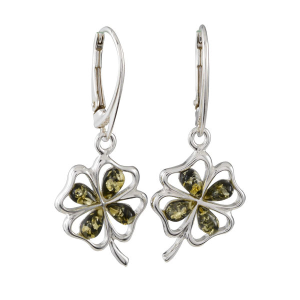 "Sterling Silver and Baltic Amber French Leverback Green Amber Earrings ""Shamrock"""