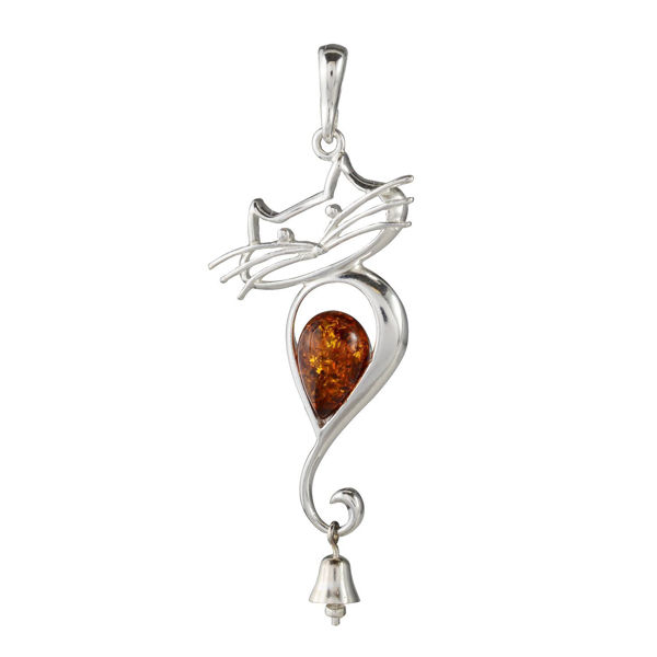 "Sterling Silver and Baltic Amber Pendant ""Cat With a Bell"""