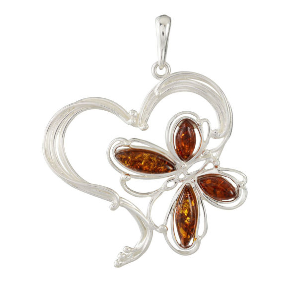 Sterling Silver and Baltic Honey Amber Butterfly Heart Large Pendant