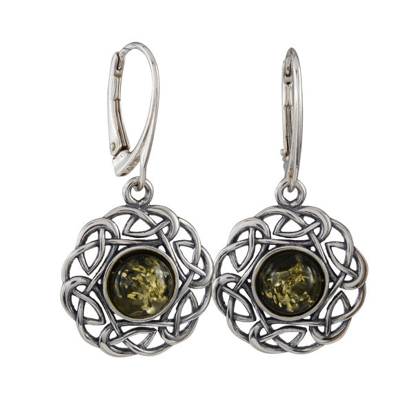 "Sterling Silver and Baltic Green Amber French Leverback   Earrings ""Enat"""