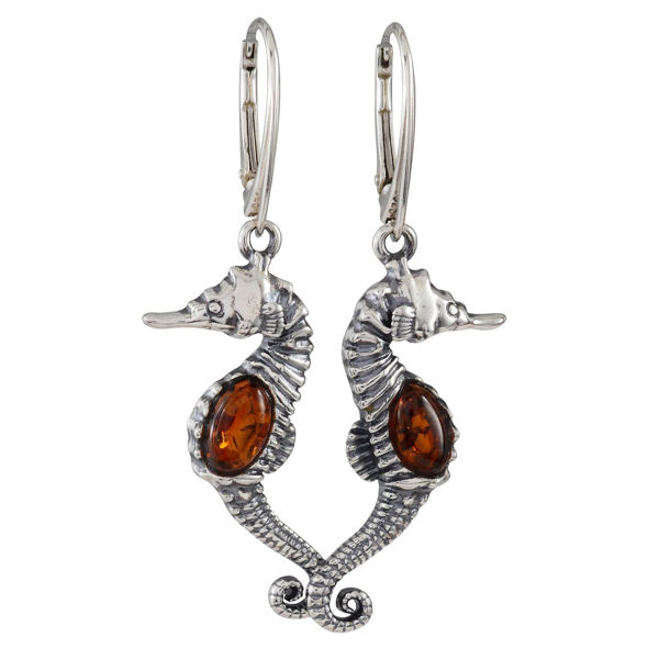 "Sterling Silver and Baltic Amber French Leverback Earrings ""Seahorses"""