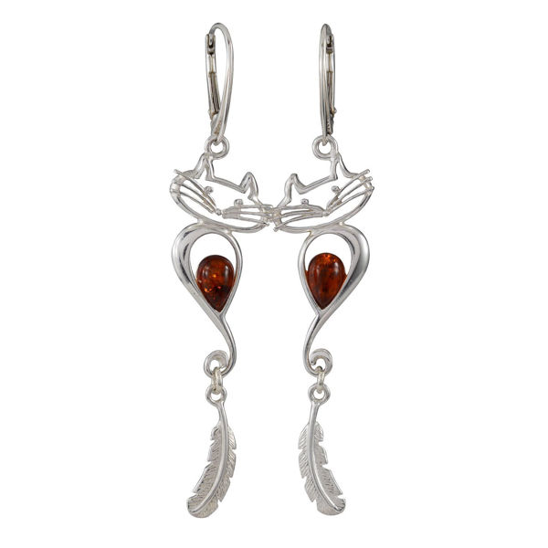 "Sterling Silver and Baltic Amber French Leverback  Earrings ""Cat With A Feather"""