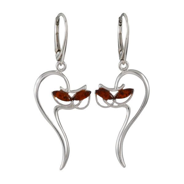 Sterling Silver And Baltic Honey Amber French Leverback Kitty Cat Earrings
