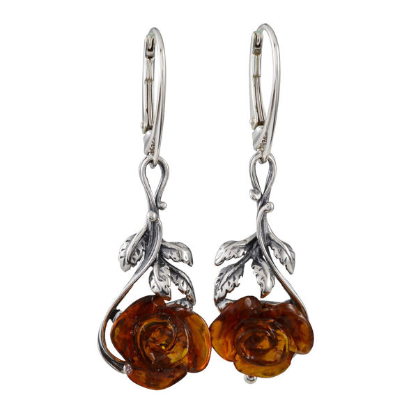 "Sterling Silver and Baltic Honey Amber Leverback Earrings ""Open Rose"""