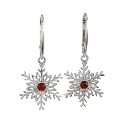 Sterling Silver and Baltic Amber French Leverback  Amber Snowflake Earrings