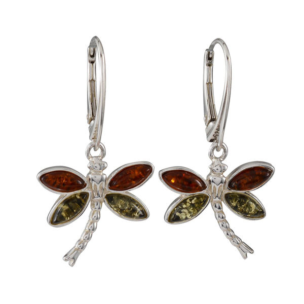 Sterling Silver and Baltic Amber French Leverback  Dragonfly Earrings