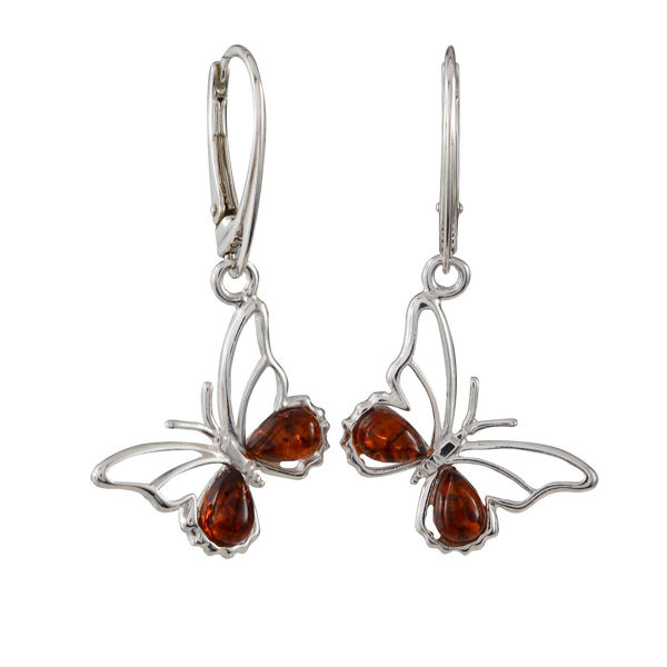 Sterling Silver and Baltic Honey Amber French Leverback Butterfly Earrings