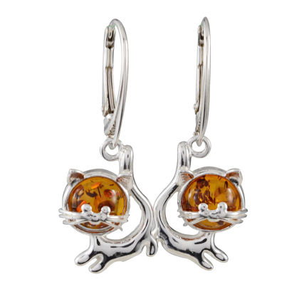 Sterling Silver and Baltic Amber French Leverback  Cats Earrings