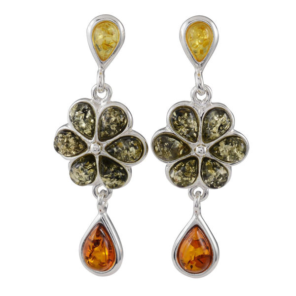 Sterling Silver Multicolored Baltic Amber Post Back  Six Petal Flower Earrings