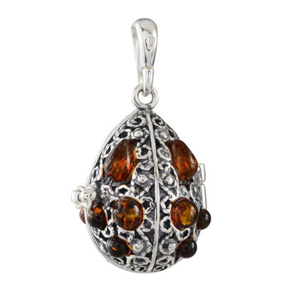 Sterling Silver and Baltic Honey Amber Locket Pendant Necklace