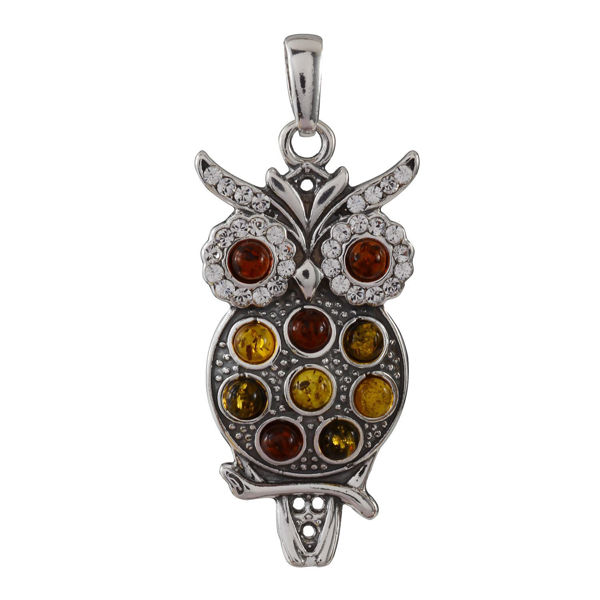 Sterling Silver and Baltic Multicolored Amber Owl Pendant