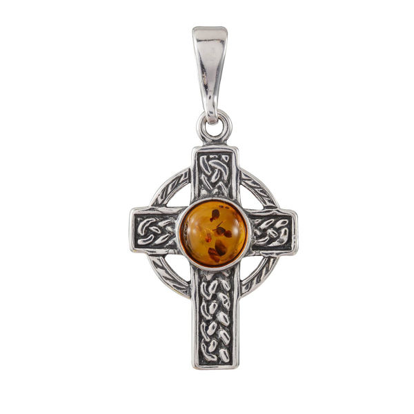 Sterling Silver and Baltic Honey Amber Celtic Knot Cross Pendant Necklace
