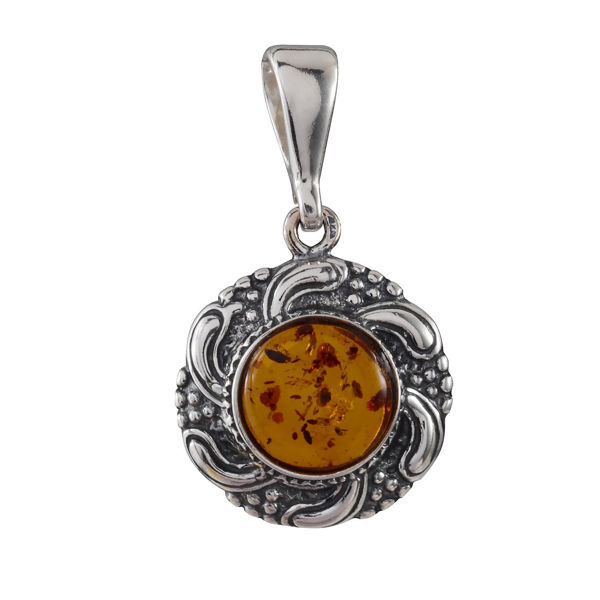 Sterling Silver and Baltic Honey Amber Round Pendant