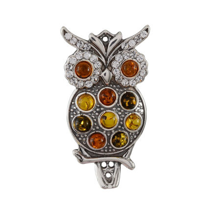 Sterling Silver and Baltic Multicolored Amber Owl Brooch