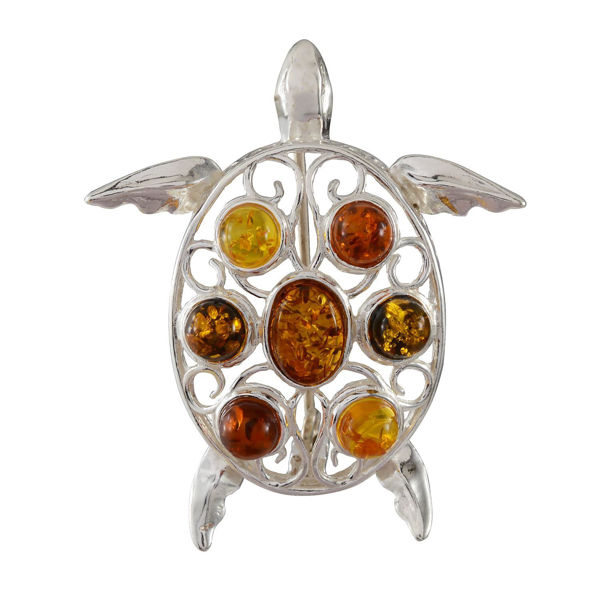 Sterling Silver and Multicolored Baltic Amber Turtle Brooch