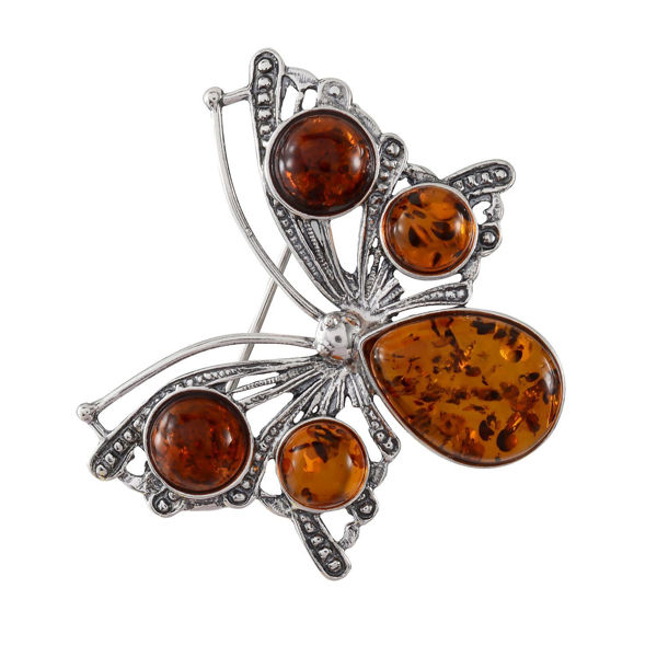 Sterling Silver and Honey Baltic Amber Butterfly Brooch