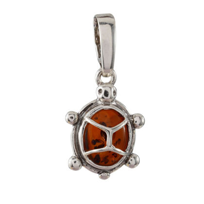 Sterling Silver Baltic Honey Amber Turtle Pendant