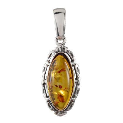 "Sterling Silver Baltic Honey Amber Pendant ""Devee"""