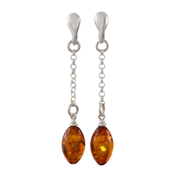 Sterling Silver and Baltic Honey Amber Post Back Olive Shaped Earrings