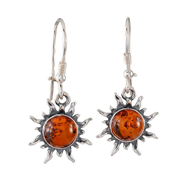 Sterling Silver Baltic Honey Amber Kidney Hook Sun Earrings