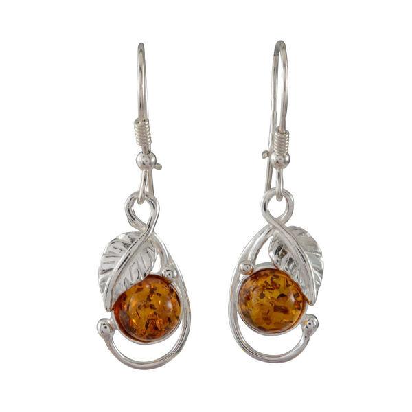 Sterling Silver and Baltic Honey Amber Kidney Hook Leaf Earrings