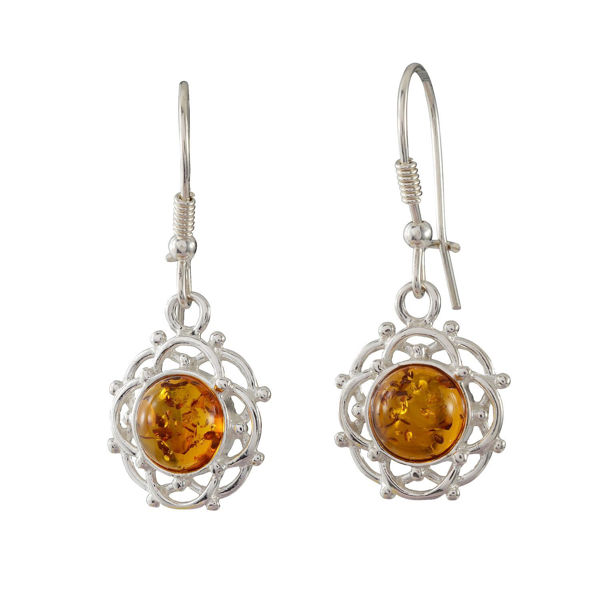 "Sterling Silver and Baltic Kidney Hook  Honey Amber Earrings ""Makalya"""