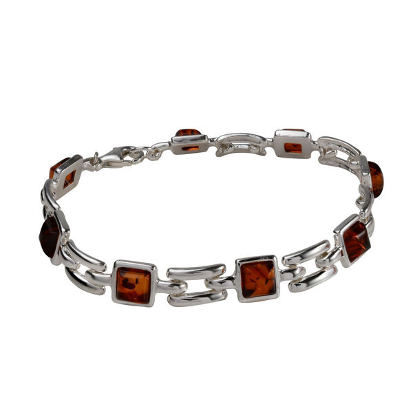 "Sterling Silver and Baltic Honey Square Amber Bracelet ""Athena"""