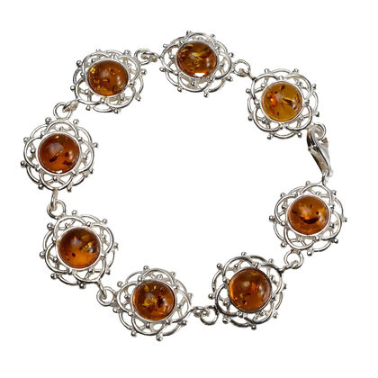 "Sterling Silver and Baltic Honey Amber Bracelet ""Makalya"""