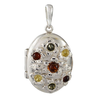 Sterling Silver and Baltic Multicolored Amber Floral Locket Pendant Necklace