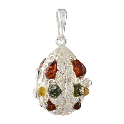 Sterling Silver and Baltic Multicolored Amber Locket Pendant Necklace